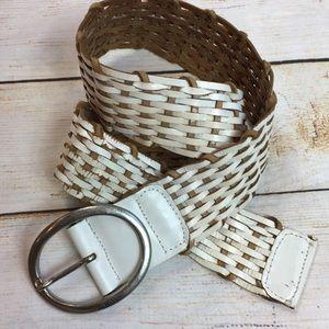 Calvin Klein white braided genuine leather belt S